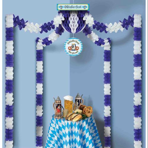 Blue and White Oktoberfest Canopy Decoration