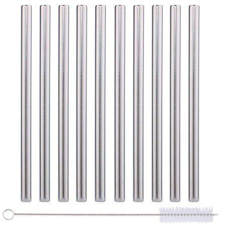 10 Pack Boba Straws In Stainless Steel - Reusable Metal Straws Best For Drinking Bubble/Boba Tea, Smoothies, Shakes - Extra Wide 0.5 And 8.5 Long - Comes With Cotton Storage Bag And Cleaning