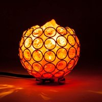 Natural Himalayan Crystal Salt Lamp with Metal Base,Dimmable Controller, Dimmer Switch,UL-Listed Cord - Bowl