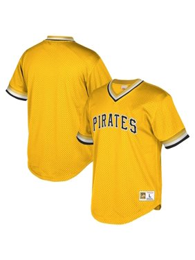 Pittsburgh Pirates Mitchell & Ness Cooperstown Collection Mesh Wordmark V-Neck Jersey - Gold
