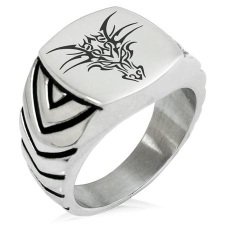 Stainless Steel Oriental Dark Dragon Chevron Pattern Biker Style Polished Ring Tibetan Silver Dragon Ring
