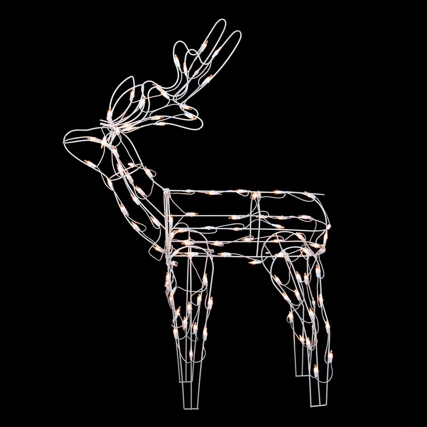 "46"" White Standing Reindeer Lighted Christmas Yard Art Decoration"