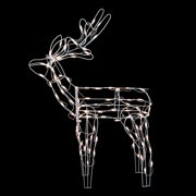 46 white standing reindeer lighted christmas yard art decoration - Outdoor Christmas Reindeer Decorations Lighted