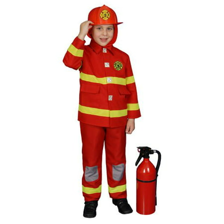 Deluxe Red Fire Fighter Dress up Children's Costume and Helmet Set Size: - Top Gun Halloween Costume With Helmet