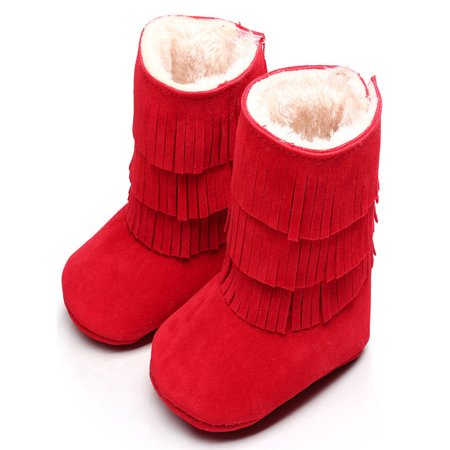 Keep Warm Double-deck Tassels Soft Snow Boots Soft Crib Shoes Toddler