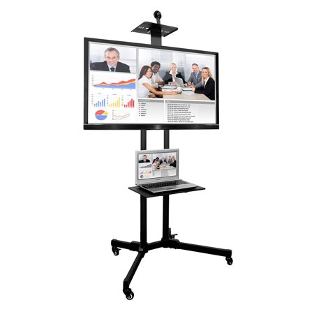 Mount It Height Adjustable Tv Cart Stand With Shelf And Rolling Casters For 37 40 43 48 50 55