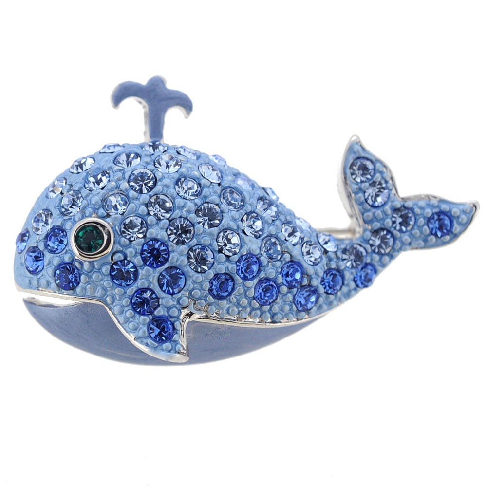 Sapphire Blue Whale Swarovski Crystal Brooch Pin by