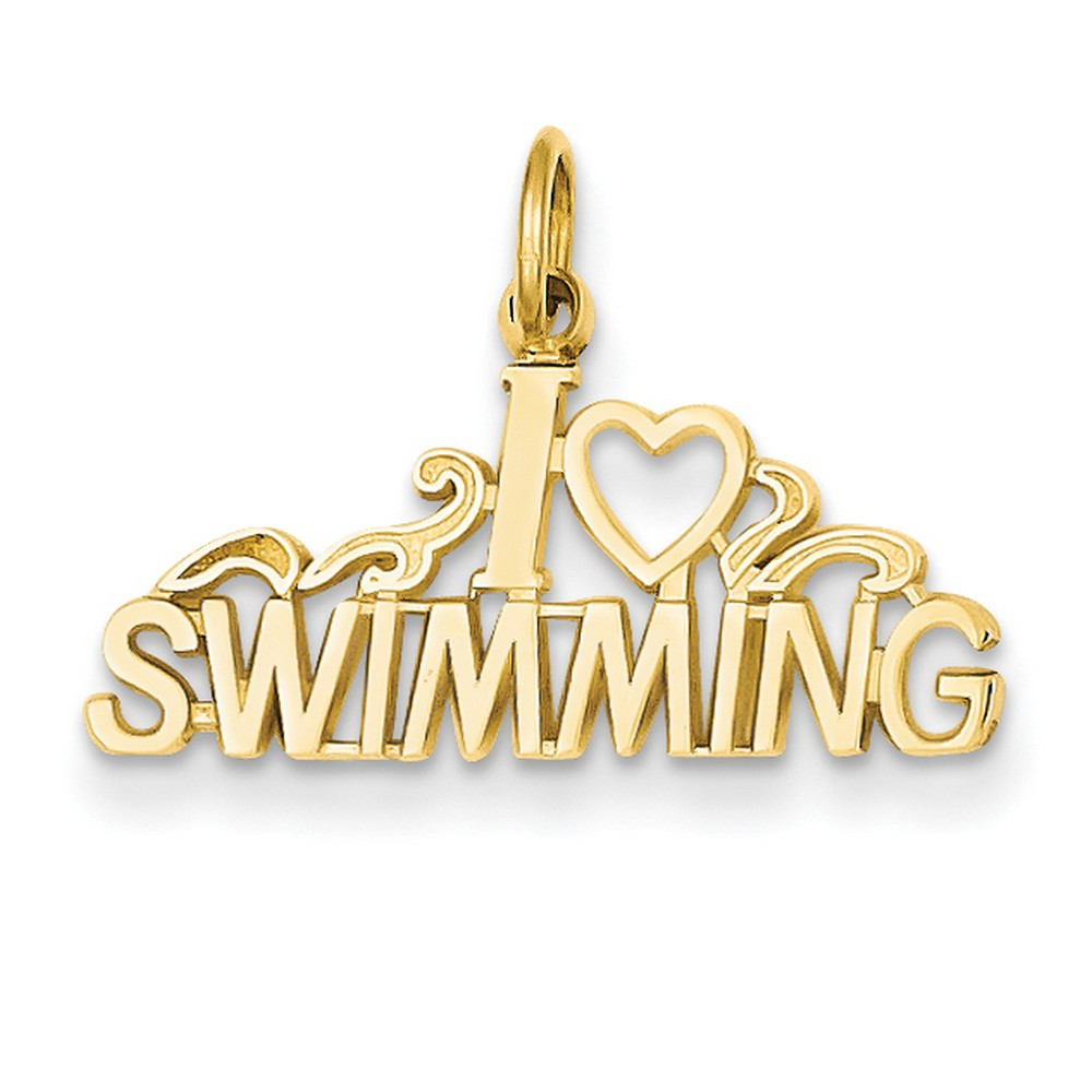 14k Yellow Gold I Love Heart Swimming Charm by