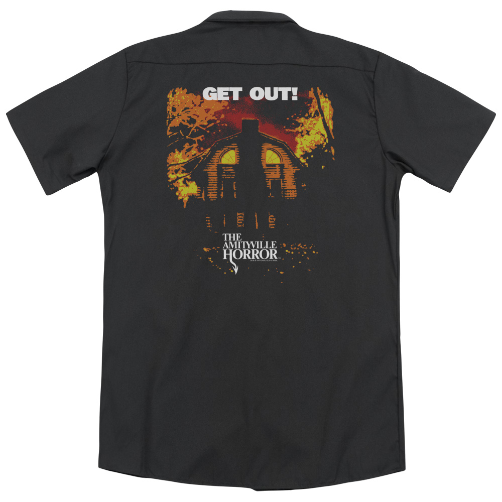 Amityville Horror Get Out (Back Print) Mens Work Shirt