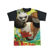 Kung Fu Panda Cartoon Action Movie Po: Dragon Warrior Adult Black Back T-Shirt