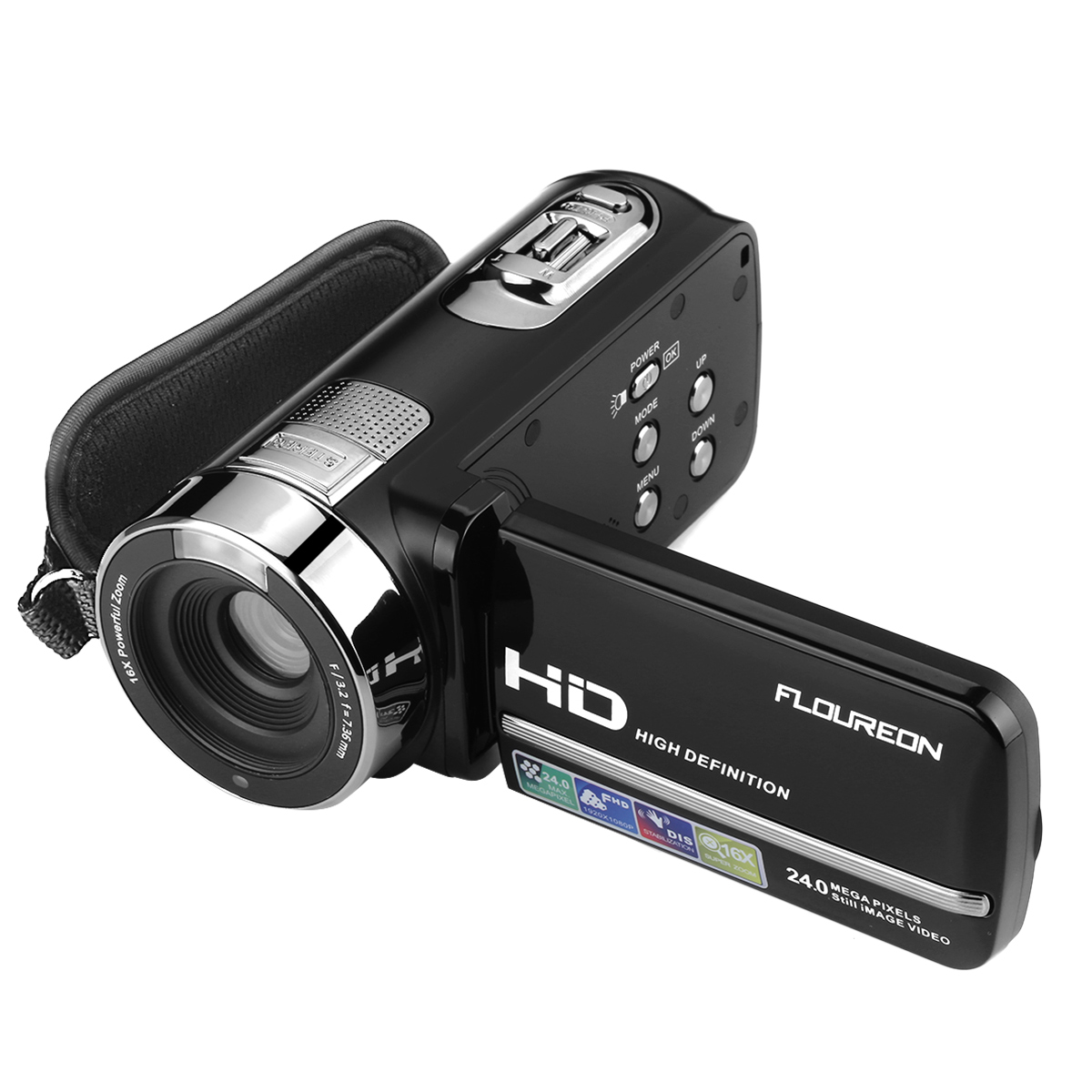 Camcorders, Floureon 1080P 24MP HD Digital Video Camera, 3.0''TFT LCD IR Night Vision 16X Digital Zoom Stabilization 270 Degree Rotation Screen Camera Recorder