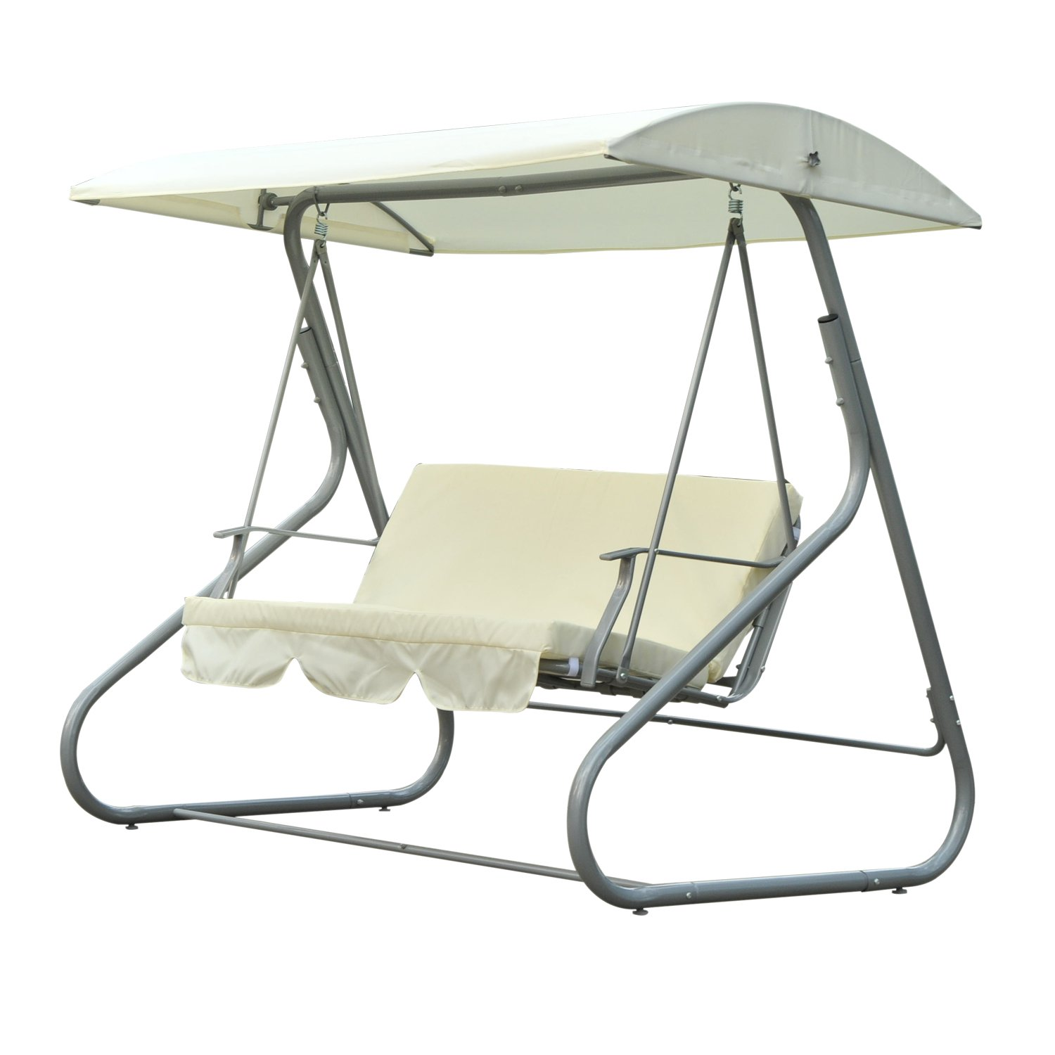 Outsunny 3 Person Patio Swing Chair with Canopy Shade Cream White by Aosom LLC