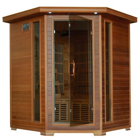 Whistler-Cedar 4 Person FAR Infrared Sauna With Carbon Heaters-Corner Unit
