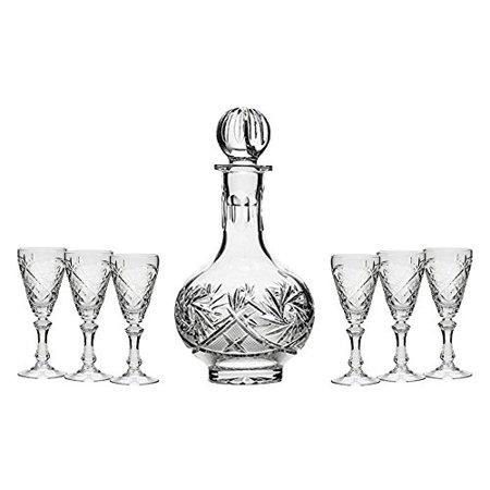 Set of 7 16-Oz Vintage Cut Crystal Liquor Decanter Set with 6 Sherry Glasses (1)
