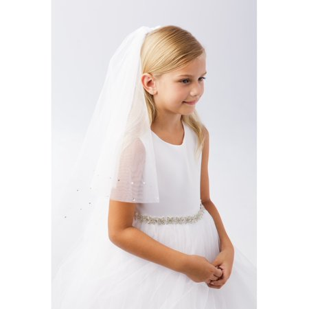 Girls White Scattered Pearl Rhinestone Raw Tulle Edge Flower Girl Communion