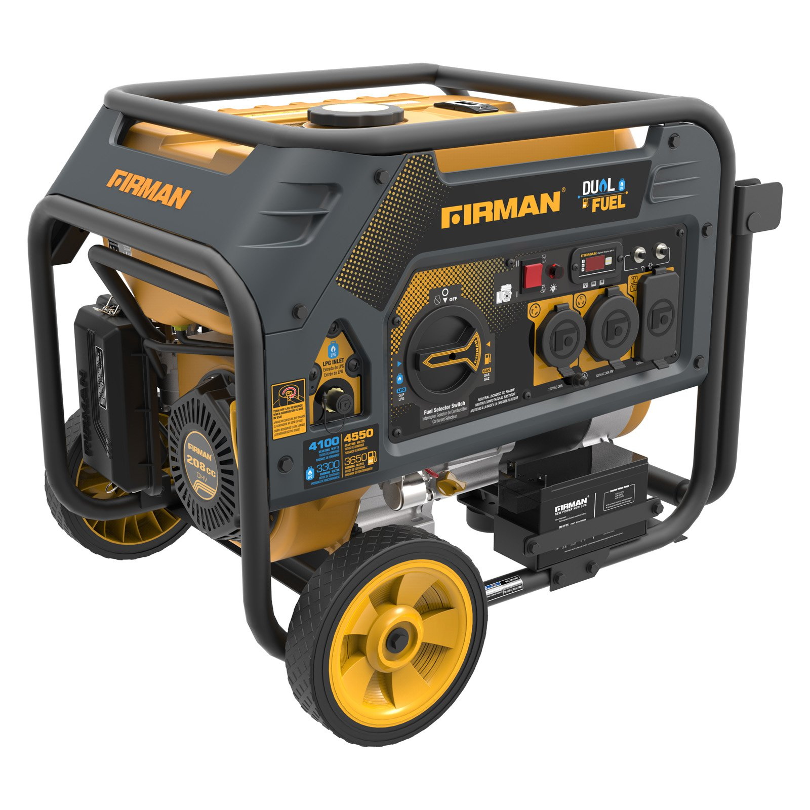 FIRMAN 4550/3650 Watt Electric Start Gas or Propane Dual Fuel Portable Generator CARB and cETL Certified