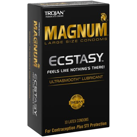 Trojan Magnum Ecstacy Large Size Lubricated Latex Condoms - 10 ct