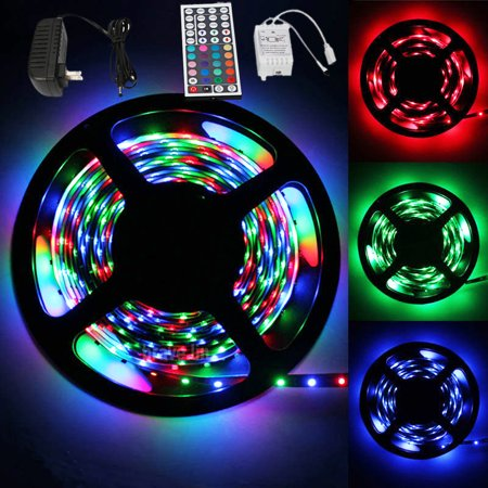 Zimtown 16.4Ft 300 LED RGB Strip Light SMD3528,IP20,Kit Set With 12V 2A Power Supply and Remote Controller;Felxible Light](Led Light Supplies)