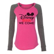 "Women's Funny Workout Raglan ""Disney Here We Come"" Patched - Mickey Mouse Shirt X-Small, Punch"