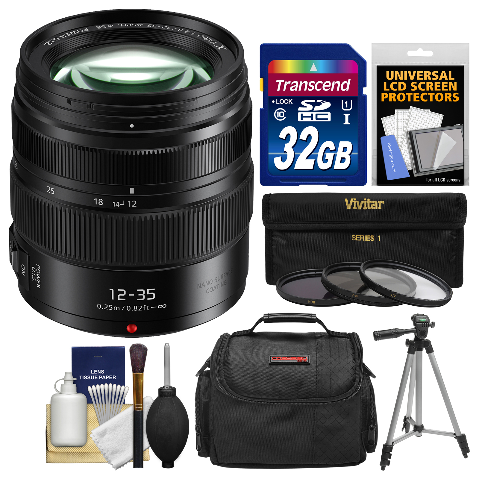 Panasonic Lumix G X Vario 12-35mm f/2.8 II ASPH Power OIS Lens with 32GB Card + Case + 3 UV/CPL/ND8 Filters + Tripod Kit for G7, G85, GH4, GH5, GX7, GX8, GX85, GX850 Camera