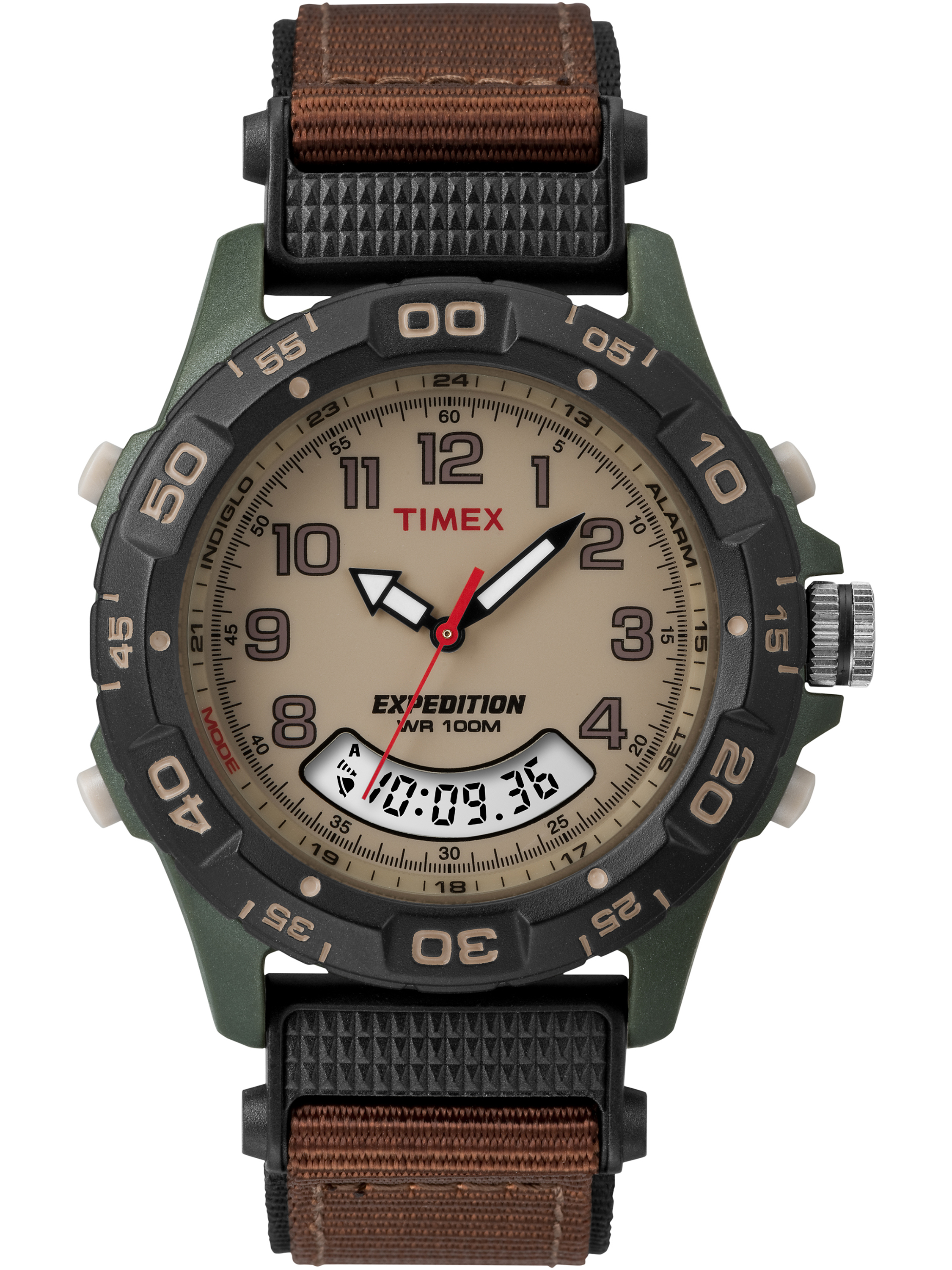 Timex Men's Expedition Brown Nylon Strap Resin Combo Watch
