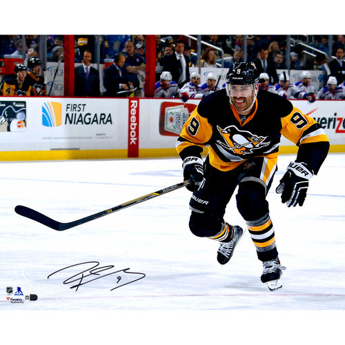 Pascal Dupuis Pittsburgh Penguins Autographed 16''x20'' Black and Gold Jersey Skating Photograph No Size by Fanatics Authentic