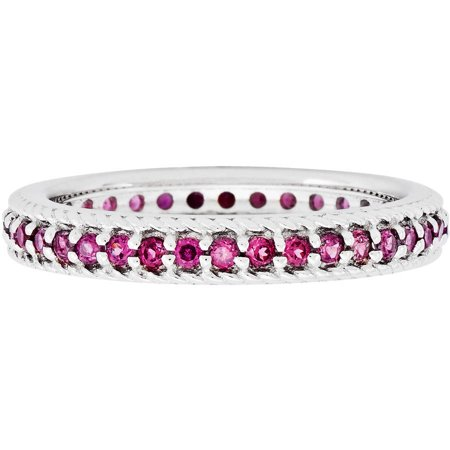 Garnet Sterling Silver Polished Rhodolite Eternity Ring ()