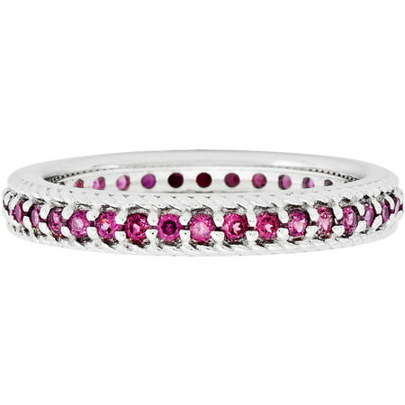 Garnet Sterling Silver Polished Rhodolite Eternity Ring