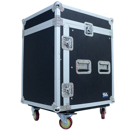 Seismic Audio 12 Space Rack Case with Slant Mixer Top and Casters - Amp Effect PA/DJ Pro Audio Black - SAMRC-12U