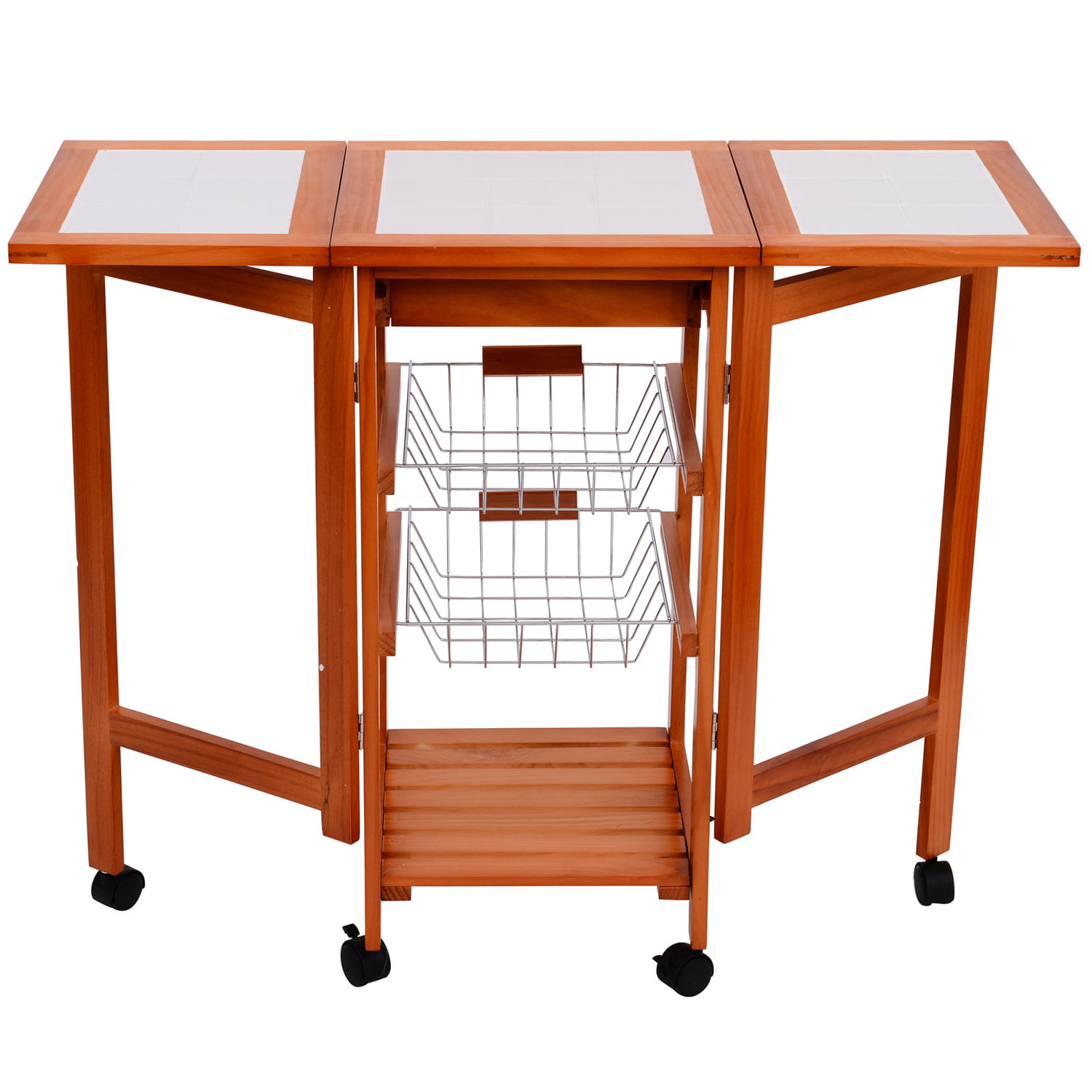 Perfect HomCom Folding Rolling Trolley Kitchen Cart Table Island With Basket    Walmart.com