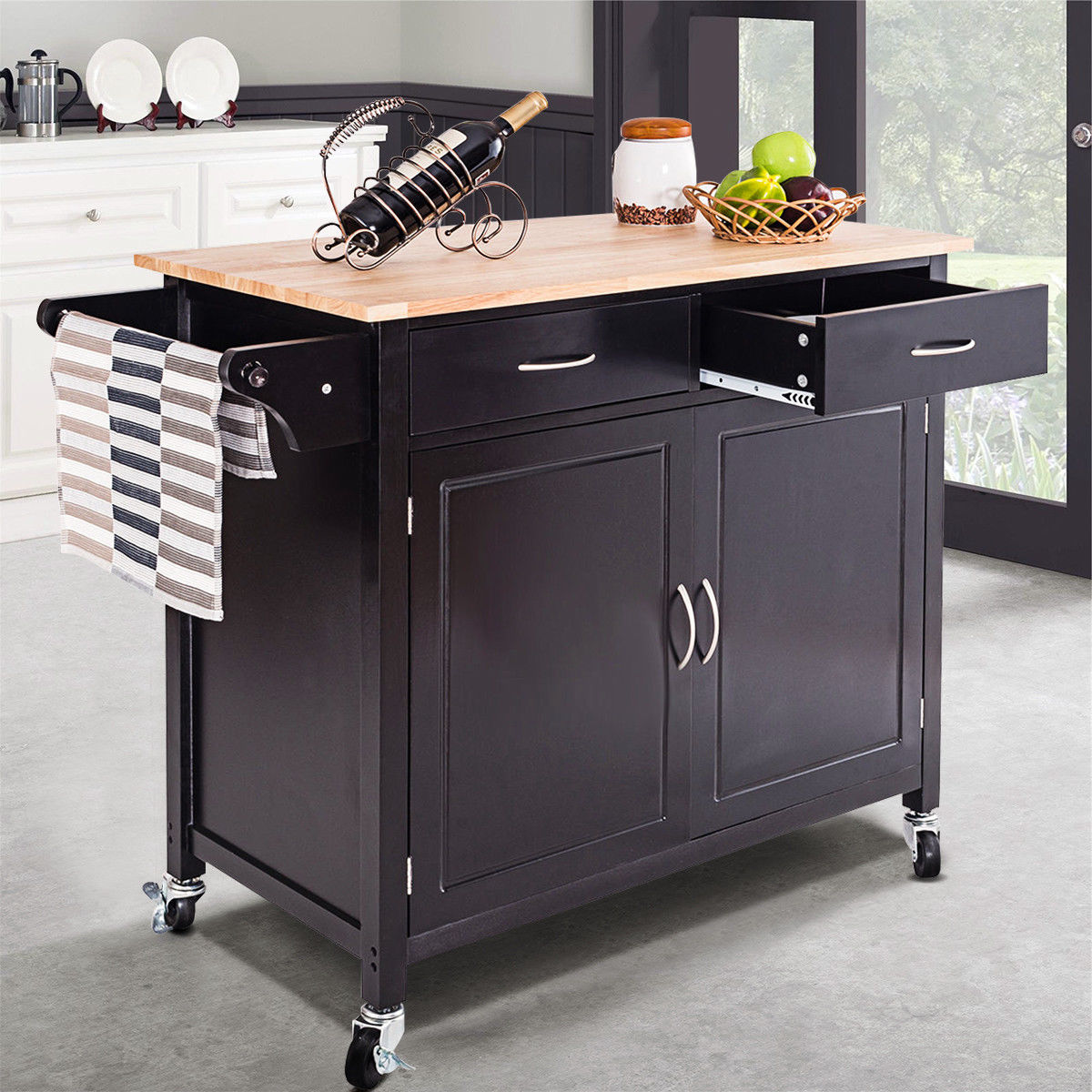 Costway Rolling Kitchen Cart Island Wood Top Storage Trolley Cabinet Utility Modern