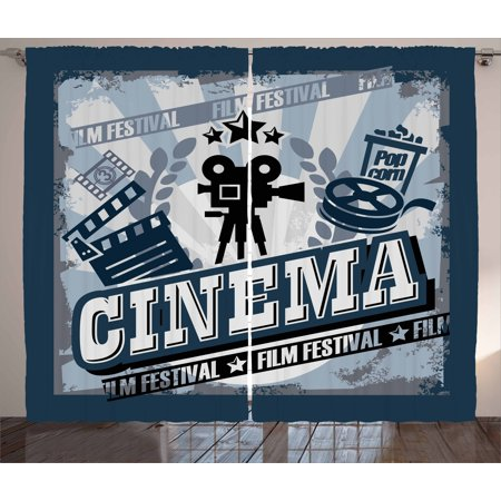 Movie Theater Curtains 2 Panels Set, Vintage Cinema Poster Design with Grunge Effect and Old Fashioned Icons, Window Drapes for Living Room Bedroom, 108W X 96L Inches, Blue Black Grey, by Ambesonne