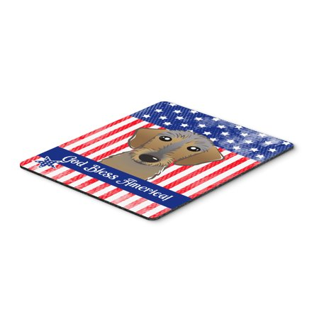 God Bless American Flag with Chocolate Labrador Mouse Pad, Hot Pad or Trivet