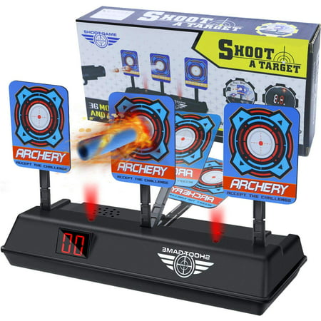 Coolmade Electric Scoring Auto Reset Shooting Digital Target for Nerf Guns, Auto-Reset Intelligent Light Sound Effect Scoring Targets Toys for Kids Boys