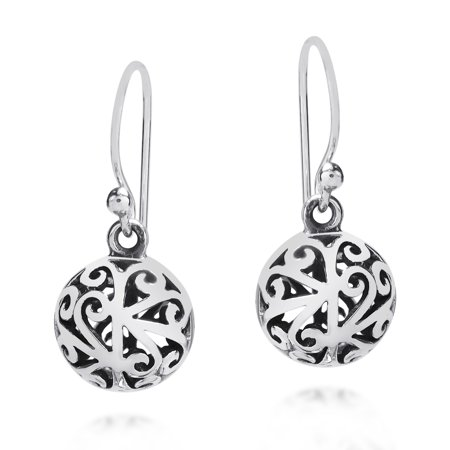 - Stylish 3D Filigree Round Ball .925 Sterling Silver Earrings