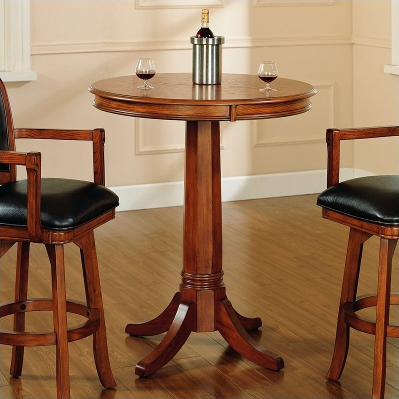 Round Bar Height Pub Table, Round Wood Bar Table