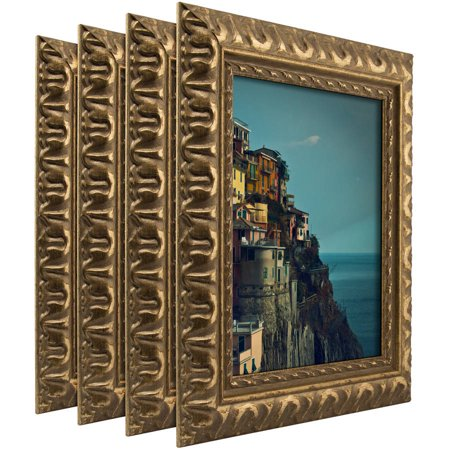 Craig Frames Bravado Ornate Antique Bronze Picture Frame, Set of 4