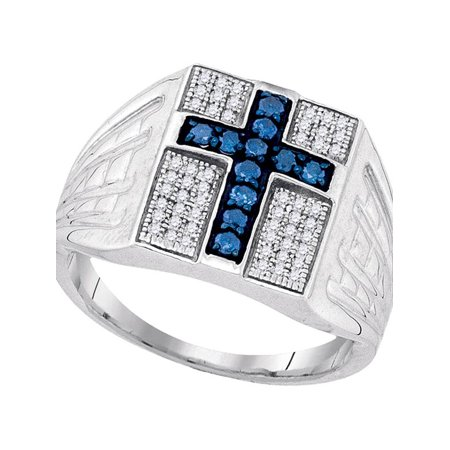 Sterling Silver Mens Round Blue Color Enhanced Diamond Cross Religious Ring 1/2 Cttw - image 1 of 1