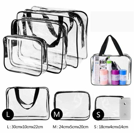 - 3Pcs Crystal Clear Cosmetic Bag  Air Travel Toiletry Bag Set with Zipper Vinyl PVC Make-up Pouch Handle Straps for Women Men, Waterproof Packing Organizer Storage Diaper Pencil Bags, Black