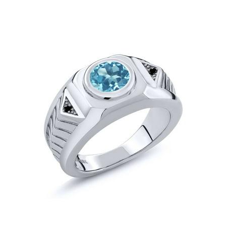 2.23 Ct Round Swiss Blue Topaz Black Diamond 925 Sterling Silver Men's (Diamond Open Ring Swiss)