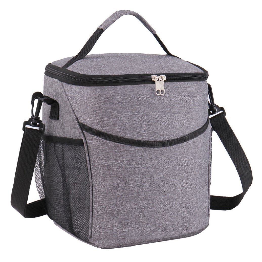 Lunch Bag, Thermal Insulated Lunch Box Tote Bag, Waterproof Oxford Cooler Food Handbag with Adjustable Strap, Good for Travel Outdoor Picnic-Large Black