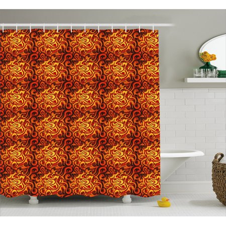 Abstract Shower Curtain Surreal Floral Pattern With Swirls Curves Foliage Design Warm Colors