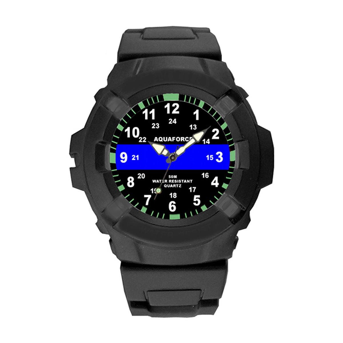 Aquaforce Thin Blue Line Watch, Police, Law Enforcement Support