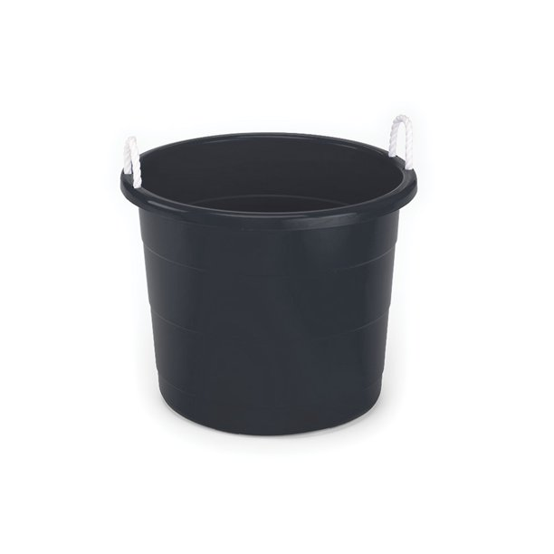 Homz 17 Gallon Rope-Handled Storage Tub, Black, Set of 2