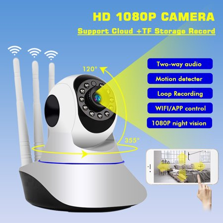 1080P Wireless Wifi Smart IP Camera Home Security Cam Baby Monitor Motion  Detection IR Night Light, Two Way Audio