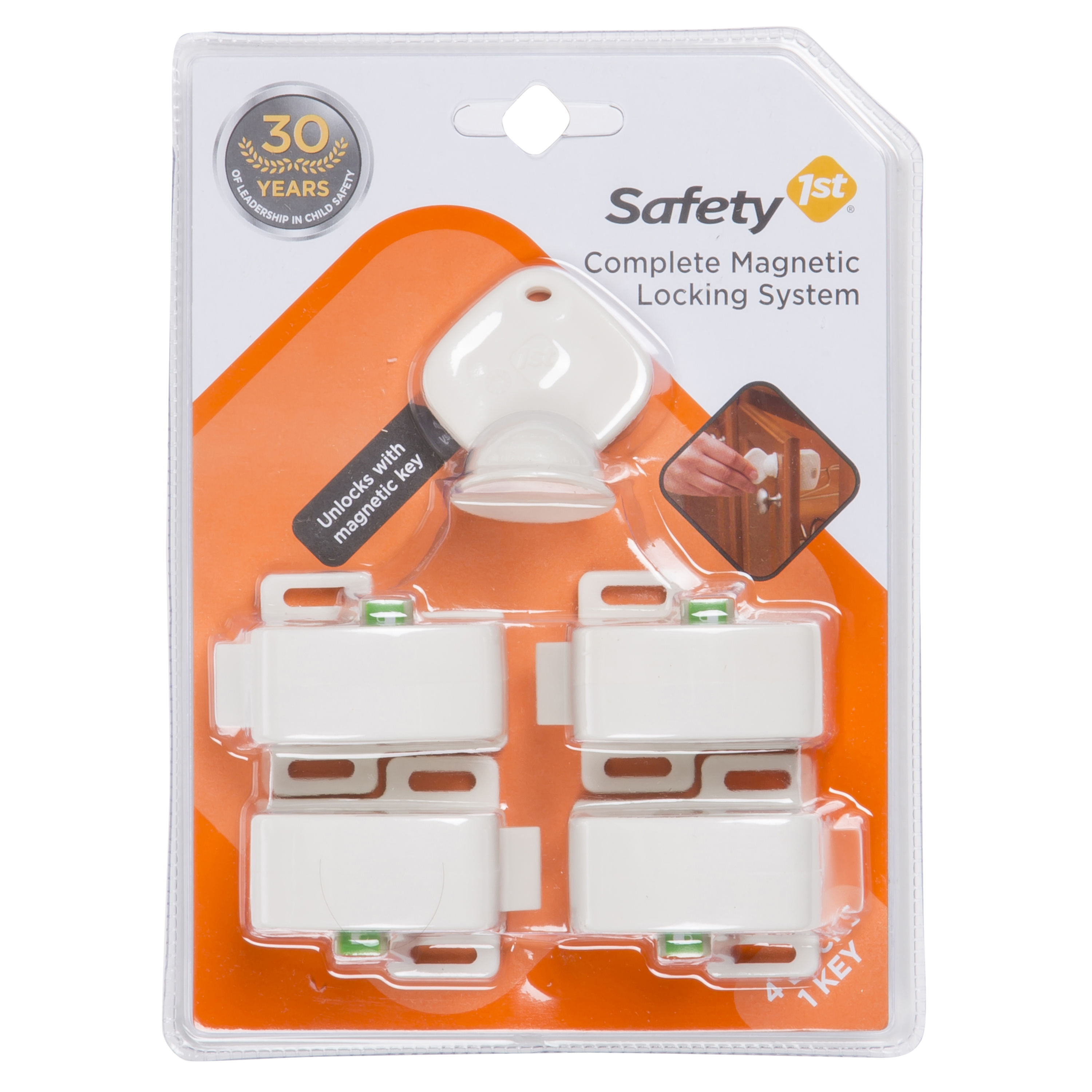 Safety 1����� Complete Magnetic Locking System (4 Locks, 1 Key), White