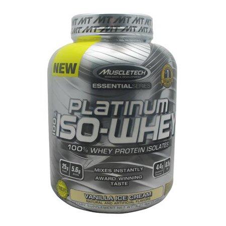 MuscleTech Platinum 100% Supplément ISO lactosérum, crème glacée à la vanille, 3,27 Bottle Pound