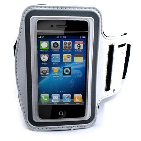White Armband Sports Gym Workout Cover Case Compatible With Nokia E71x E71 E63 E6 - Palm Treo 800w 755p 750 700w 680 - Pantech Vybe, Swift, Laser P9050, Ease, Crux,