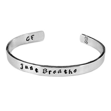 Just Breathe - Hand Stamped 1/4-inch Bracelet - Cystic Fibrosis Awareness