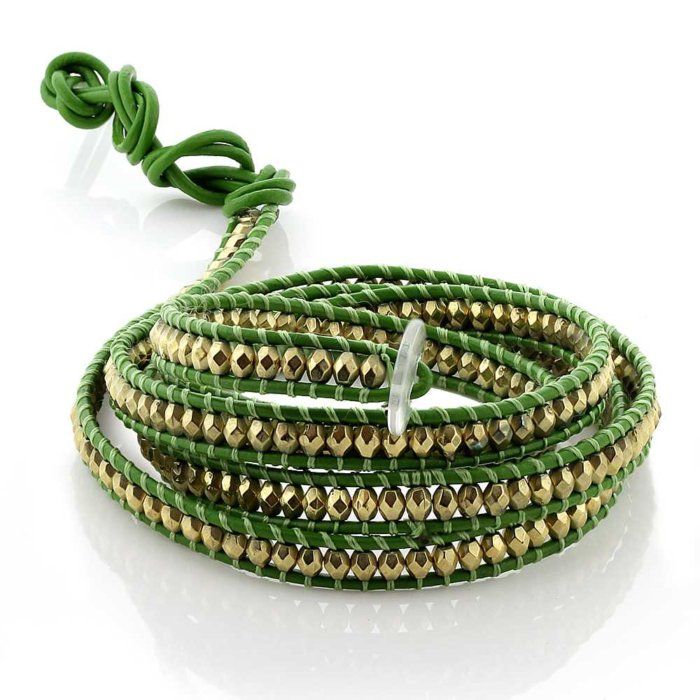36 Inch Cross Cut Golden Beads on Green Leather Wrap Bracelet with White Button